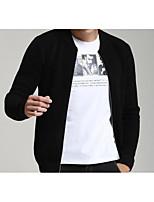 Herren Standard Strickjacke-Lässig/Alltäglich Übergröße Einfach Solide Schwarz Ständer Langarm Baumwolle Herbst Mittel Mikro-elastisch