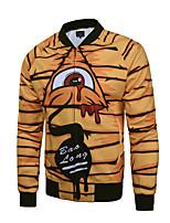 Мужчины Нарядная / Для клуба / Большие размеры С принтом Куртка V-образный вырез,Простое / Уличный стиль / Активный Осень / Зима