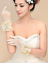Wrist Length Fingertips Glove Tulle Bridal Gloves Spring Summer Fall Winter Embroidery