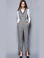 Women's Casual/Daily Street chic Pant Suits,Striped V Neck Long Sleeve Gray Polyester