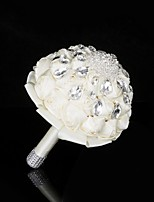 Wedding Flowers Round Bouquets Wedding Party/ Evening Satin Silk Bead Crystal Rhinestone Metal 11.02