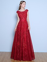 Dress Ball Gown Jewel Floor-length Lace / Tulle with Beading / Flower(s) / Sash / Ribbon