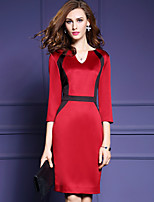 Women's Plus Size / Going out Vintage / Sophisticated Bodycon DressColor Block V Neck Knee-length  Length Sleeve