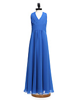 2017 Lanting Bride® Floor-length Chiffon Junior Bridesmaid Dress A-line V-neck with Draping