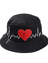 Women Casual Love Heart ECG Cartoon Embroidery Circular Folding Fisherman Cap Basin Beanie Hat