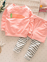 Girl's Casual/Daily Print Clothing SetCotton Fall Pink