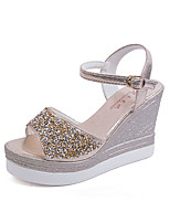 Women's Sandals Summer Comfort PU Dress Wedge Heel Crystal Silver / Gold Others