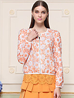 I'HAPPY  Women's Going out Cute JacketsJacquard Round Neck Long Sleeve Spring / Fall Blue / White / Orange