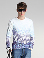 Men's Daily / Sports / Holiday Simple Print White Round Neck Long Sleeve Cotton / Polyester All Seasons