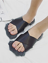 Women's Slippers & Flip-Flops Winter Slingback Suede Casual Flat Heel Black / Gray / Khaki