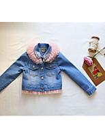 Menina de Jeans,Casual Cor Única Algodão Outono Azul