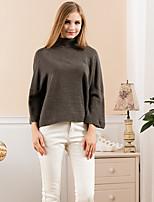 Damen Standard Pullover-Ausgehen Einfach Solide Blau / Grau Rollkragen Langarm Wolle Winter Mittel Mikro-elastisch