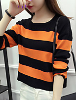 Women's Going out / Casual/Daily Simple / Street chic All Match Regular PulloverStriped Round NeckLong