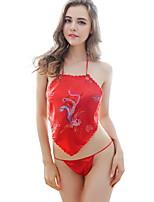 Para Mujer Traje Ropa de dormir,Sexy Estampado-Delgado Raso / Poliéster Rojo