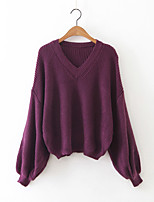 Women's Casual/Daily Simple Regular Pullover,Solid Red / Black / Gray / Purple V Neck Long Sleeve Cashmere / Polyester Fall / Winter