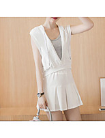 Women's Casual/Daily Street chic Summer Tank Top Skirt Suits,Solid Hooded Sleeveless White / Black Spandex Opaque