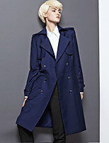 DL.FANG Women's Going out / Casual/Daily Simple Trench CoatSolid Notch Lapel Long Sleeve Spring / Fall Blue Rayon / Polyester Thick