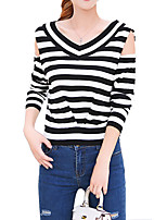 Women's Going out / Casual/Daily Simple / Street chic Regular Pullover,Striped Red / White V Neck Long Sleeve Cotton / PolyesterSpring /