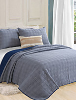 Plaid Quilts Material King 2pcs Shams / 1pc Quilt