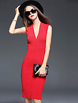 Women's Plus Size / Going out Simple Bodycon DressSolid V Neck Knee-length Sleeveless Red / Black Polyester Fall