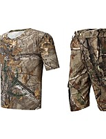 Men Outdoor Spoorts Tshirt Camouflage Hunting Wader Fishing Suits Summer Camo Hunting Clothing Suit Tshirt Short & Pants