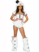 Santa Suits Festival Costumes White Solid Leotard/Onesie / Hat / Leg Warmers Christmas Terylene