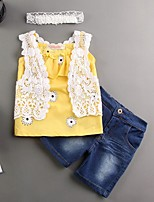 Girl Casual/Daily Print Sets,Polyester Summer Sleeveless Clothing Set