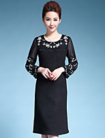 AINIER Women's Casual/Daily Chinoiserie Tunic DressEmbroidered Round Neck Knee-length Long Sleeve Black Polyester Fall Mid Rise Inelastic Thin