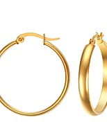 Women's Hoop Earrings Jewelry Casual/Wedding/Party/Daily Stainless Steel Gold Plated Golden 1 Pair Gift