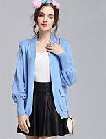 Women's Casual/Daily Simple Regular Cardigan,Solid Blue / Pink / Red / Black / Gray V Neck Long Sleeve Cotton Fall / Winter Medium