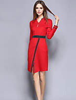 YICHAOFUSHI Women's Casual/Daily Street chic Sheath DressColor Block V Neck Above Knee Long Sleeve Red Polyester Fall -OMQ-Y1496-240