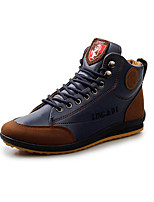Men's Sneakers Spring Comfort Leather Casual Flat Heel Lace-up Dark Brown Blue Walking