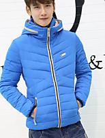 Men's Padded Coat,Simple Plus Size / Casual/Daily Solid-Polyester White Duck Down Long Sleeve Blue / Black