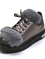 Women's Sneakers Spring Fall Winter Comfort PU Casual Flat Heel Lace-up Pom-pom Black Gray Walking