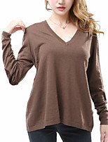 Women's Casual/Daily Holiday Sexy Street chic Long Pullover,Solid Brown V Neck Long Sleeve Cotton Fall Winter Medium Stretchy
