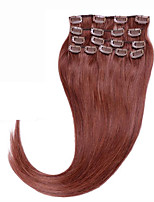 Full head #33 Brazilian human hair clip in extensions 70g 80g Clip In Indian Human Hair Extensions Silky Straight 7pcs/set