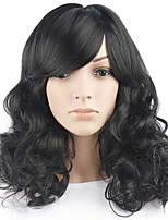Long Wavy Hair Wig with Bangs Black Color Synthetic Wigs for Women