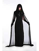 Cosplay Costumes Wizard/Witch / Skeleton/Skull / Vampire Movie Cosplay Black Solid Dress / Shawl / Gloves Halloween / Carnival Female