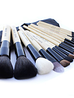 18 Makeup Brushes Set Goat Hair Professional / Portable Wood Handle Face/Eye/Lip Black