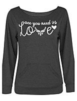 Women's Casual/Daily / Sports Simple Regular Loose  HoodiesLetter Black Boat Neck Long Sleeve Medium Micro-elastic
