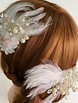 Femme Plume / Strass / Alliage / Acrylique Casque-Mariage / Occasion spéciale / Décontracté Fleurs / Pique cheveux 2 Pièces