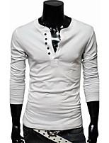 Hombre Simple / Activo Casual/Diario / Trabajo / Deportes Para Todas las Temporadas Camiseta,Escote Redondo Un Color Manga Larga Algodón