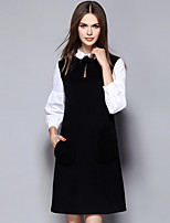 YICHAOFUSHI Women's Casual/Daily Street chic Loose DressColor Block Stand Above Knee Long Sleeve Black Polyester Fall Mid Rise -OMQ-Y1442-220