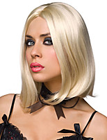 Medium Short Straight Hair Bleach Blonde Color Synthetic Wigs for Women