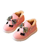 Girl's Boots Winter Comfort Leatherette Dress / Casual Flat Heel Bowknot Pink / Red / White Sneaker