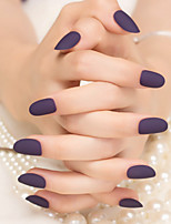 Matte Deep Purple Pure Color Nail Strips Fashion And Elegant 1Set