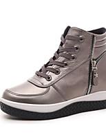 Women's Boots Winter Platform PU Casual Flat Heel Platform Lace-up Black Red Champagne Walking