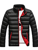 Men's Regular Padded Coat,Simple / Street chic Plus Size / Casual/Daily / Formal Solid-Polyester Polyester Long Sleeve StandBlue / Red /