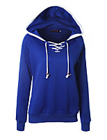 Women's Casual/Daily Simple Regular HoodiesColor Block Blue / Green / Yellow Hooded Long Sleeve Cotton Winter Medium