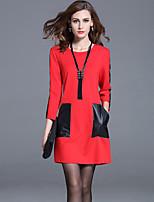 Women's Plus Size / Casual/Daily / Work Street chic Shift / Sheath Dress Patchwork Red / Black / Gray Rayon /Nylon